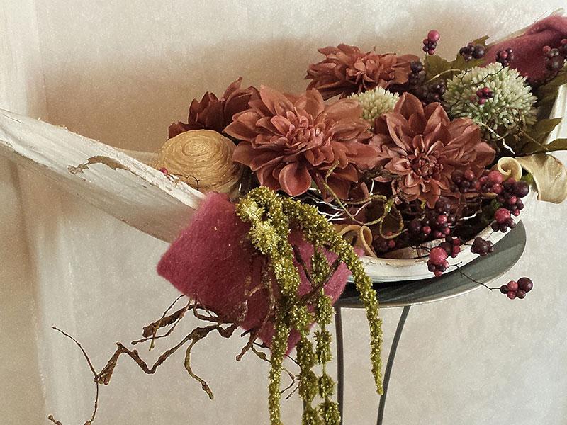 Palmenblatt (groß) herbstlich dekoriert