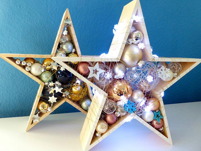 Sterne (groß) in Gold – Blau und Silber/Weiß- Rosé