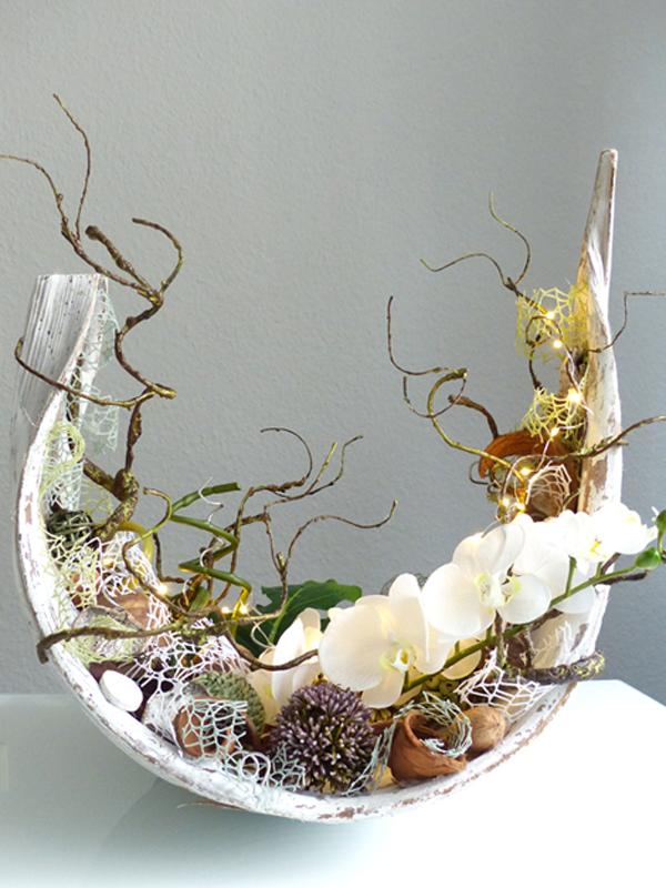 Palmenblatt (groß) floral dekoriert