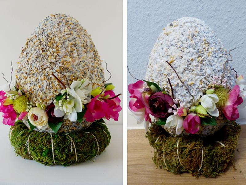 Links: Großes Ei (30 cm) mit grober Körnung, gefüllt mit Fresien, Ranunkeln und Weidenzweigen | rechts : Kleines Ei (21 cm) mit grober Körnung