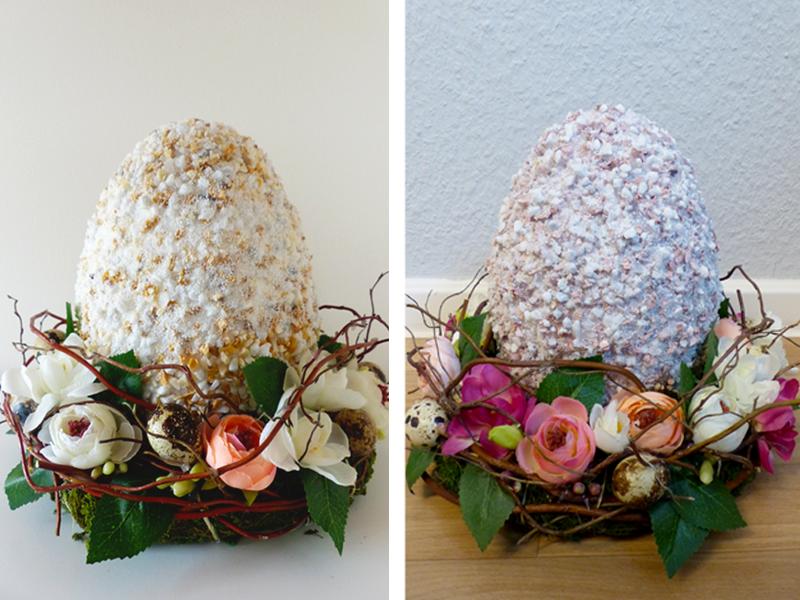Links: Osternest in zarten Tönen | Rechts: Osternest in Frühlingstönen